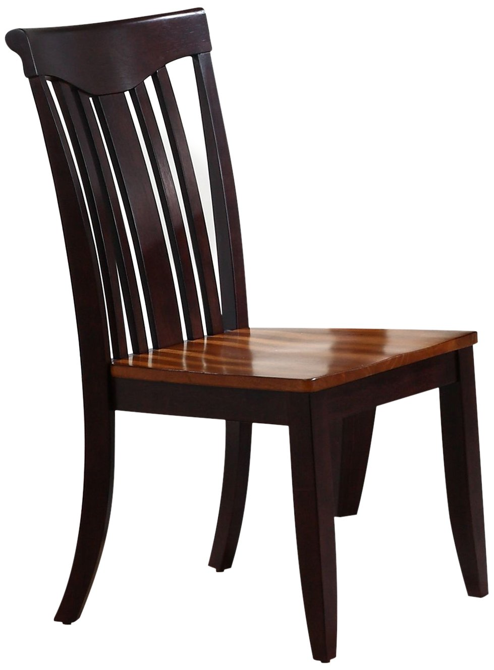 Iconic Furniture Modern Slat Back Dining Chair, Whiskey Mocha Finish SET OF 2