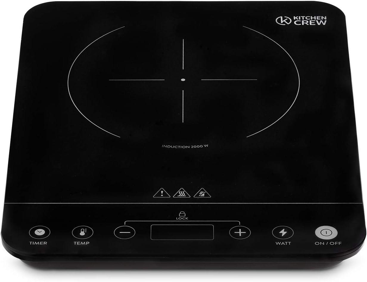 Placa Inducción Portátil - Placa de induccion de Vitrocerámicas, Cocina Inducción Portátil - Placa Eléctrica de Cocción Individual 2000W