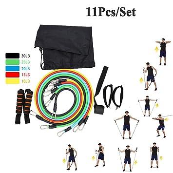 11pcs/Set látex Bandas elásticas Resistencia Fitness Bandas ...