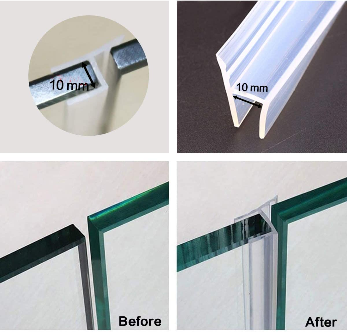 Door Seal Weather Stripping Glass H Type 1Pack 98inch Frameless Bathroom Shower Glass Door Bottom Sweep 10mm Flexible Weatherproof Silicone Seal Strip for 3//8-Inch