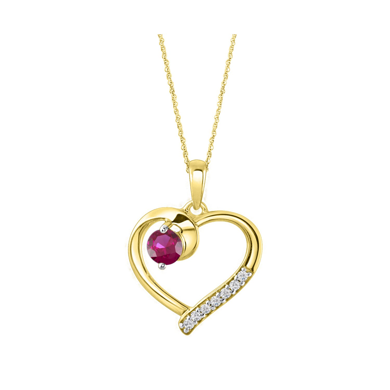 DiscountHouse4you 14k Yellow Gold Plated 5mm 0.60 ct Simulated Ruby /& White CZ Solitaire Pendant Necklace for Women Girls