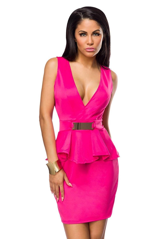 Pinkes Partykleid knielang mit V Ausschnitt, Falten und Zierschnalle elegantes Damen Abendkleid