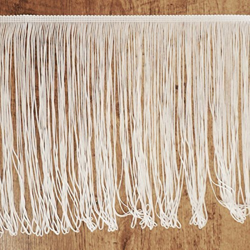 Color blanco con flecos 30 cm de ancho, 12 cm de ancho, craft, fashion, por el metro 12cm de ancho On Trend Fabrics