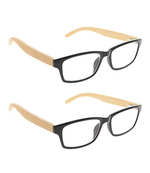 4037078052a Amazon.com  READING GLASSES 2 pack Bamboo Temples Readers (Black ...