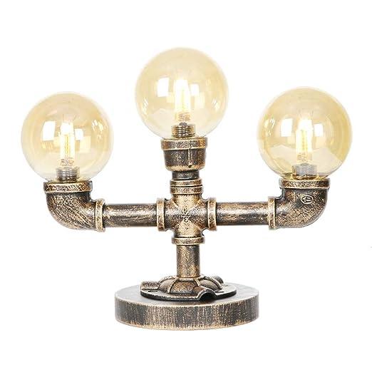 Lámpara Agua Mesa De De Industrial LLovg De Tubería Retro OnwP0k