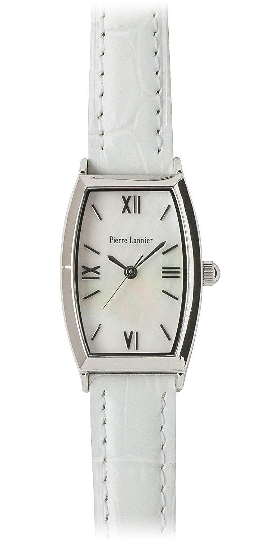 Pierre Lannier腕時計Tonneau Watchシルバー/クロコ押しホワイトp131d690 C11レディース B01LQA3R7K