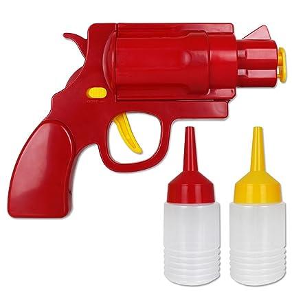 Salsa Pistola – En forma de pistola – Dispensador de salsa de ketchup y mostaza de