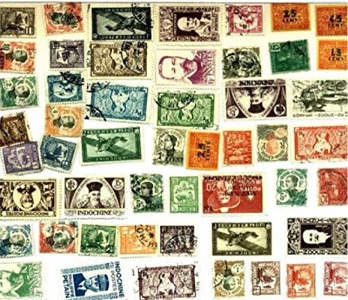 Indo-China Stamp Collection - 50 Different Stamps