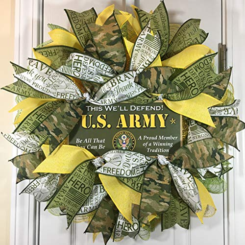 Army Door - US Army Wreath for Front Door with Deco Mesh and Ribbon, 22 Inches