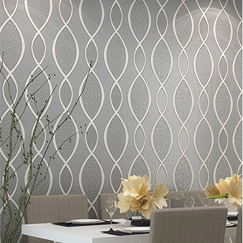 -thick Non-woven Modern Leaf Flow Embossed Textured Wallpaper for Livingroom Bedroom, 20.8 In32.8 Ft=57 Sq.ft, Gray&beige (Bathroom Wallpaper)