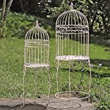 The Farmers Market Decorative Bird Cage Plant Stands, Set of 2, Pedestal Tables, Lift Off Tops, Distressed, Vintage Style, Iron, 17¾ D x 49¼ H Tall And 12½ D W x 40¼ H, By Whole House Worlds