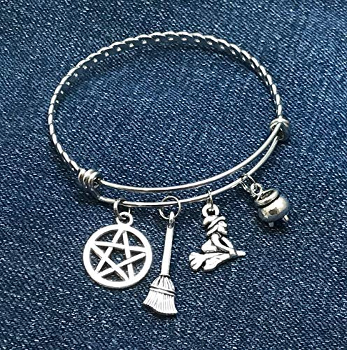 Wiccan Charm Bracelet with Pentagram Broom Witch and Cauldron Halloween Jewelry Braided Expandable