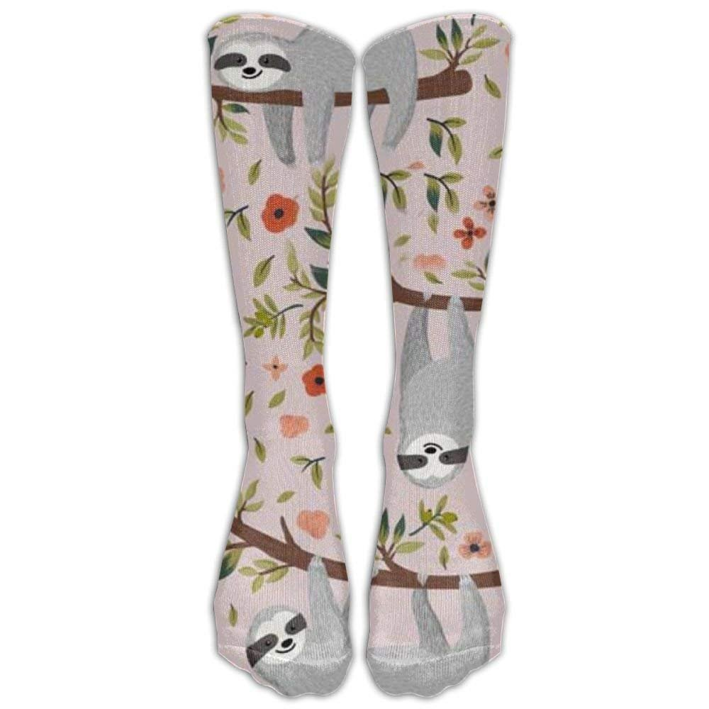FUNINDIY Pink Sloth Compression Socks for Wome and Men,