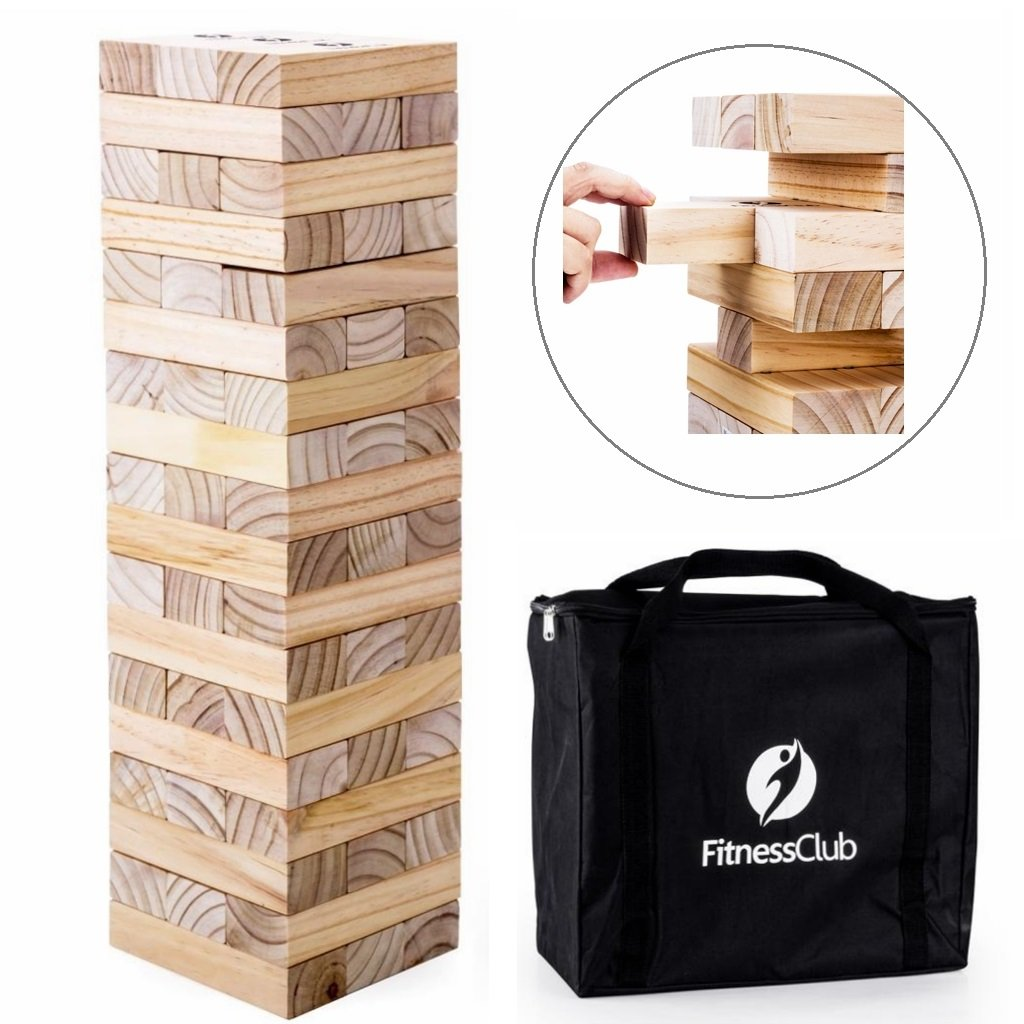 Giant Toppling Timbers Block Games - 54pcs Stacking Blocks for a Fun-Plays Over 5ft Tall-Giant Table Top Game - Outdoor Games for Adults/Family