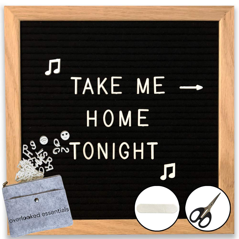 Black Felt Letter Board (White Letters) - Classy Oak Frame Message Board 10x10 - Perfect for Home & Office - Leave cute messages, quotes, reminders, humor - 360 characters, scissors, zip bag, and file Overlooked Essentials
