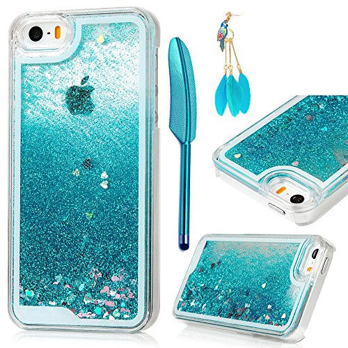 Price comparison product image iPhone SE Case, iPhone 5 5S Case - MOLLYCOOCLE Transparent Clear PC Hard Plastic Shell 3D Bling Sparkle Glitter Quicksand and Cute Star Flowing Liquid Cover for iPhone SE / 5 / 5S - Blue