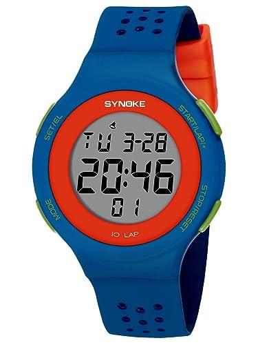 SYNOKE - Reloj Impermeable Digital Deportivo Unisex para Adolescentes Chicos Chicas Reloj de Pulsera Luminoso con LED Alarma Date Transpirable al Aire Libre ...