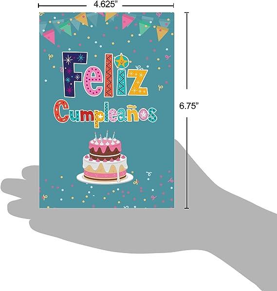 Beautiful Feliz Cumpleaños Greeting Card (4.75 x 6.625 Inch) - Spanish Happy Birthday Card with Envelope - Felicitaciones Bday Regalo - Special ...