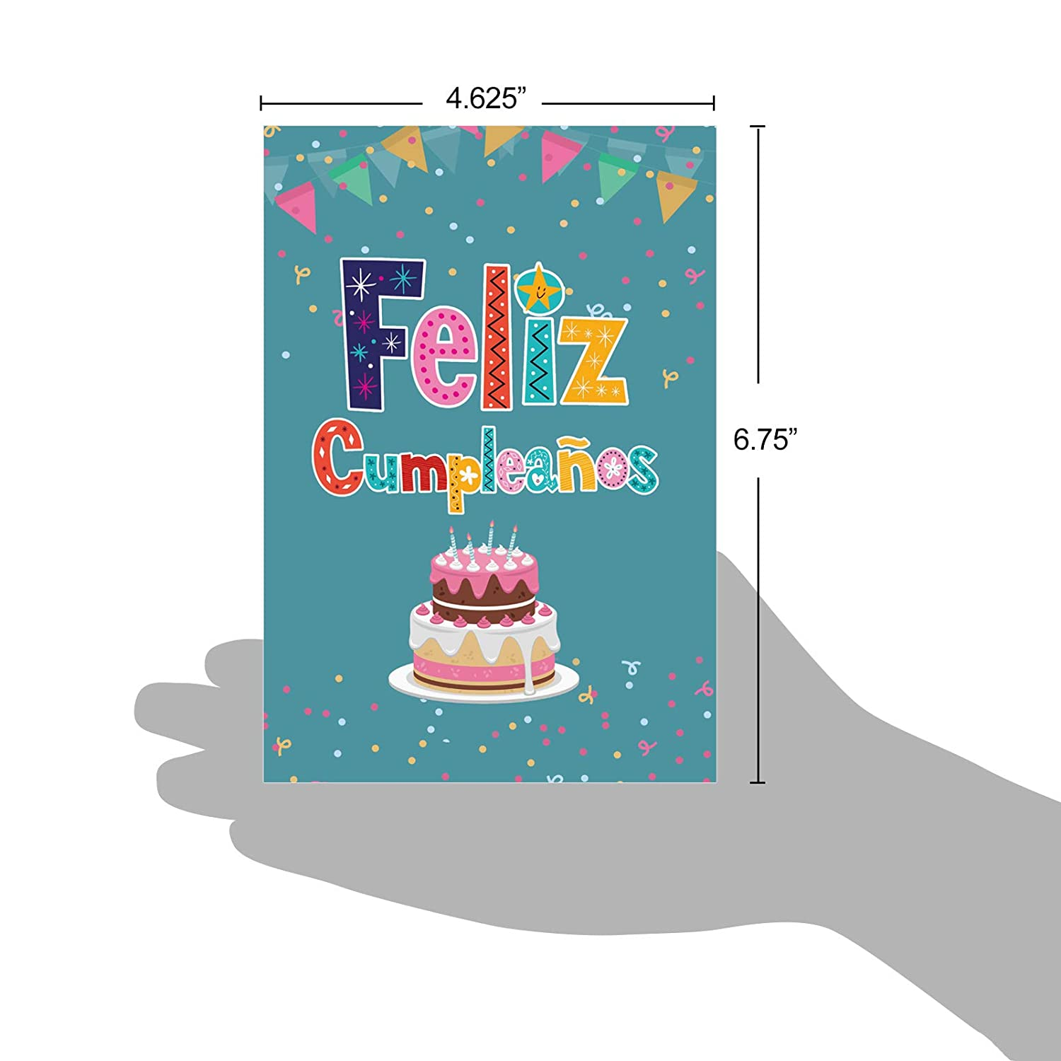 Beautiful Feliz Cumpleaños Greeting Card (4.75 x 6.625 Inch) - Spanish Happy Birthday Card with Envelope - Felicitaciones Bday Regalo - Special ...