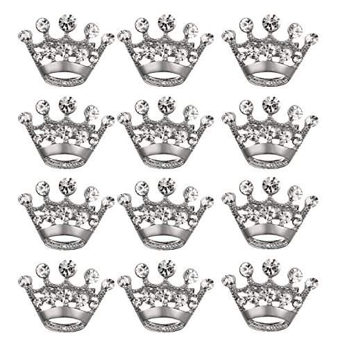 Silver Crystal Crown Pin (BESTOYARD Crown Brooch Pin Crystal Brooches Scarves Buckle Collar Pin Corsage Bouquet Kit Wedding Party Brooch Pin 12PCS (Silver))