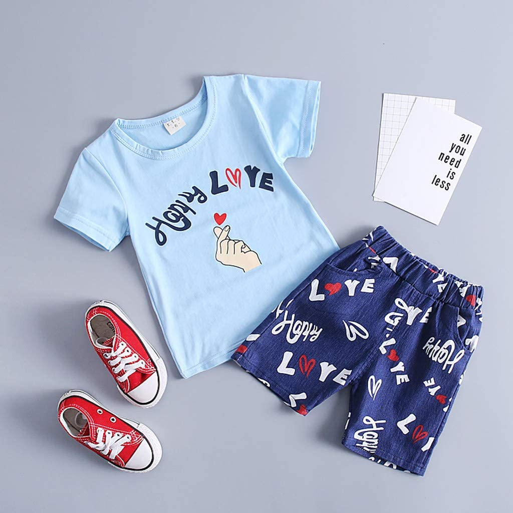 Summer Sunsuit Fartido Baby Boys Playsuit Short Sleeve Letter Print T-Shirt Top Shorts Outfit Set