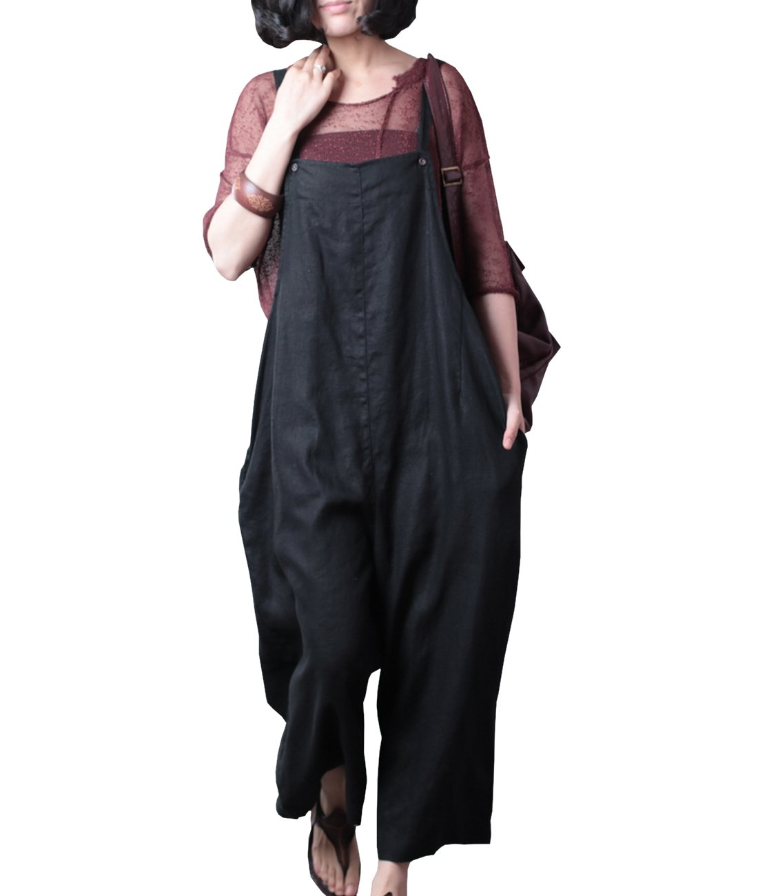 Yesno P21 Women Rompers Cropped Pants Trousers 100% Linen Casual Wide Leg Low Crotch Loose Fit,L (US12-US14),Black