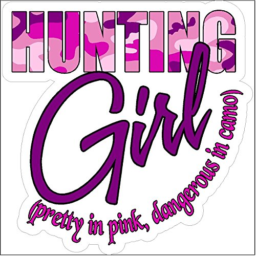 Hunting-Girl-Pretty-In-PinkFunny-Girl-Hunting-Decal-Deer-Car-Truck-Removable-Woman-Hunter-Sticker-5-x-5