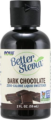 NOW Foods, Better Stevia Liquid, Dark Chocolate, Zero-Calorie Liquid Sweetener, Low Glycemic Impact, Certified Non-GMO, 2-Ounce