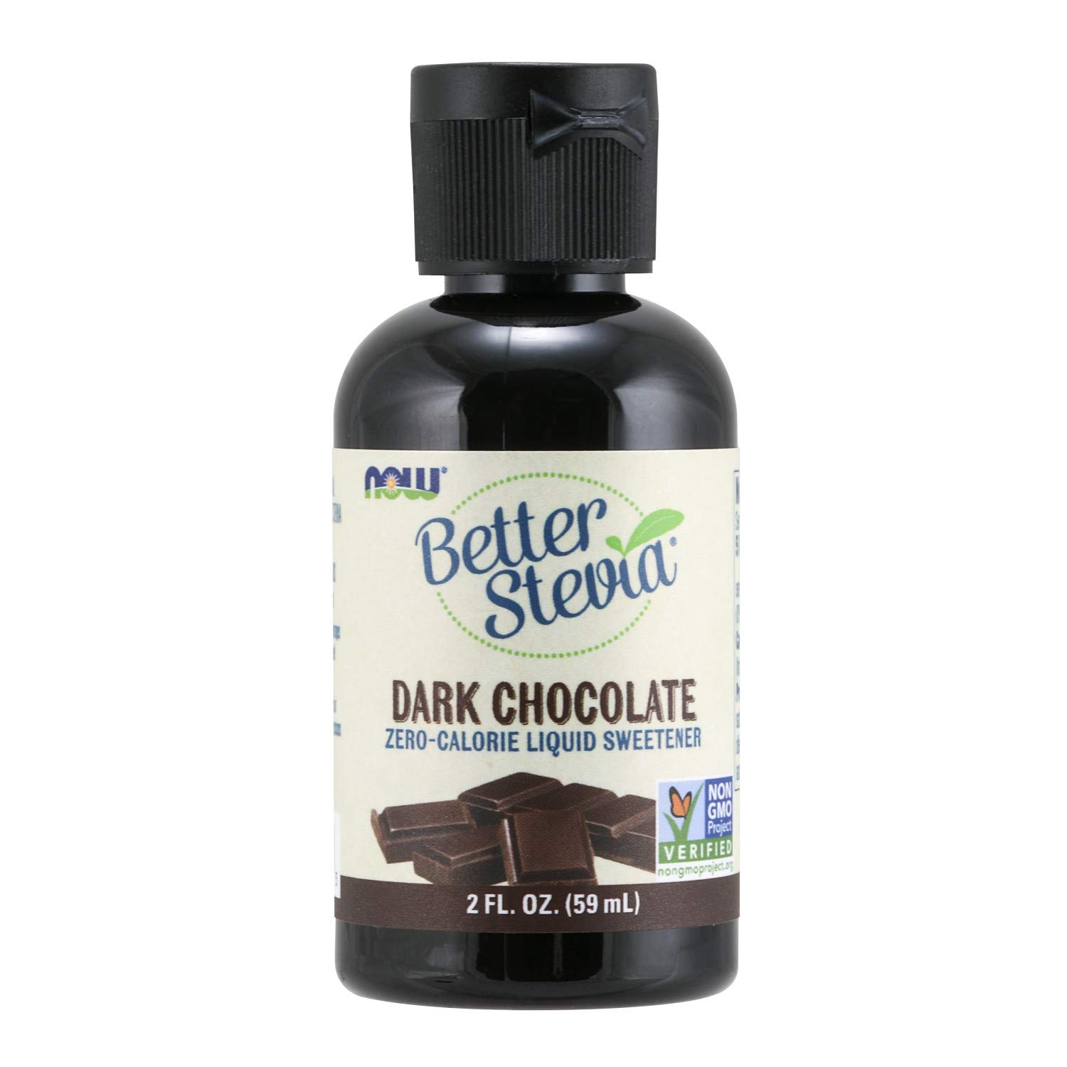 NOW Foods, Better Stevia Liquid, Dark Chocolate, Zero-Calorie Liquid Sweetener, Low Glycemic Impact, Certified Non-GMO, 2-Ounce,Clear