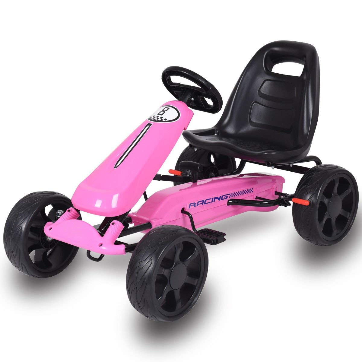 Costzon Go Kart, 4 Wheel Powered Ride On Toy, Kids' Pedal Cars for Outdoor, Racer Pedal Car with Clutch, Brake, EVA Rubber Tires, Adjustable Seat (Pink Go Kart)