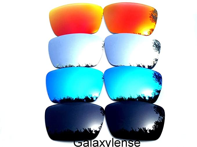 3f9050d51ce Amazon.com  Galaxy Replacement Lenses for Oakley Fuel Cell  Black Blue Titanium Red Color Polarized 4 Pairs  Clothing