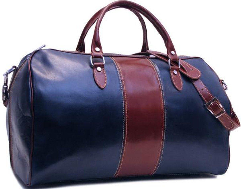 Superflybags duffelväska i äkta polerat läder vegetal garvade modell Sicilia L Dark Blue-brown