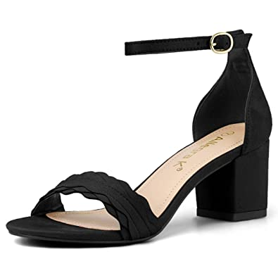 f4dbf79f6 Allegra K Women s Buckle Ankle Strap Low Block Heel Black Sandals - 5 ...