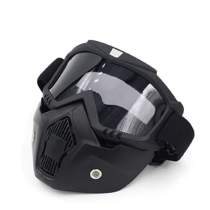 Spohife Gafas Desmontable Máscara del Moto Filte de Boca para Cascos Abierto Media Cara de Esquí Snowboard Motocross,Máscara de la motocicleta con gafas ...