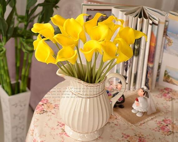 AOLVO Calla Lillies Flores Artificiales, 10pcs Ramo de Boda Novia Látex Real Touch Calla Lirio Flor para Decoración del Hogar Fiesta: Amazon.es: Hogar