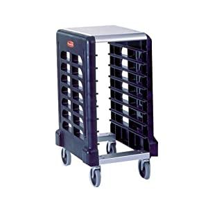 Rubbermaid Commercial Products Max System Food Service Storage/Insert Pan Racks and Prep Cart, 8-Slot End-Loader for Insert Pans, Black (FG331500BLA)