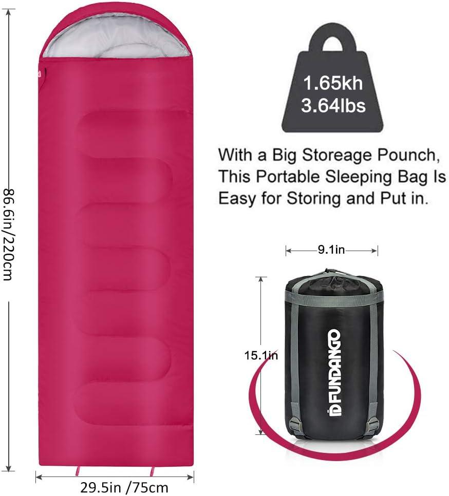 Sac de Compression Inclus FUNDANGO 3-4 Saison compacts Sacs de Couchage Chauds avec Capuche pour Camping en Plein air randonn/ée randonn/ée