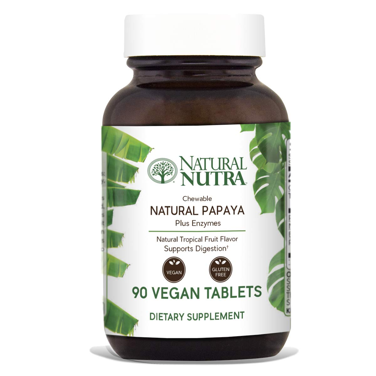 Natural Nutra Papaya Chewable Plant Enzymes for Digestion, Bloating, Gas and Constipation Relief with Papain, Protease, Bromelain, Amylase and Protease, 90 Chewable Vegan Tablets by Natural Nutra