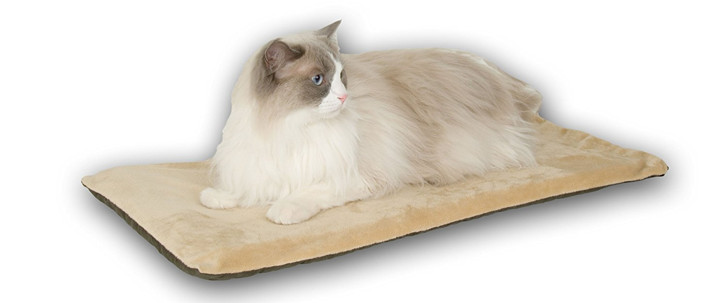 K&H Pet Products Thermo-Kitty Mat Heated Pet Bed Sage 12.5 X 25 Inches 612l4jijSbL