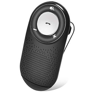 (Español) Manos Libres para Coche Kit Auto Power On Adaptador Audio Bluetooth con Siri y Google Asistente, Altavoz Fuerte con Subwoofers, Soporta GPS, ...