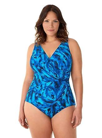 bfe672103fbe06 Miraclesuit Women's Swimwear Plus Size Ocean Ocelot Oceanus Tummy Control V-Neckline  One Piece Swimsuit at Amazon Women's Clothing store: