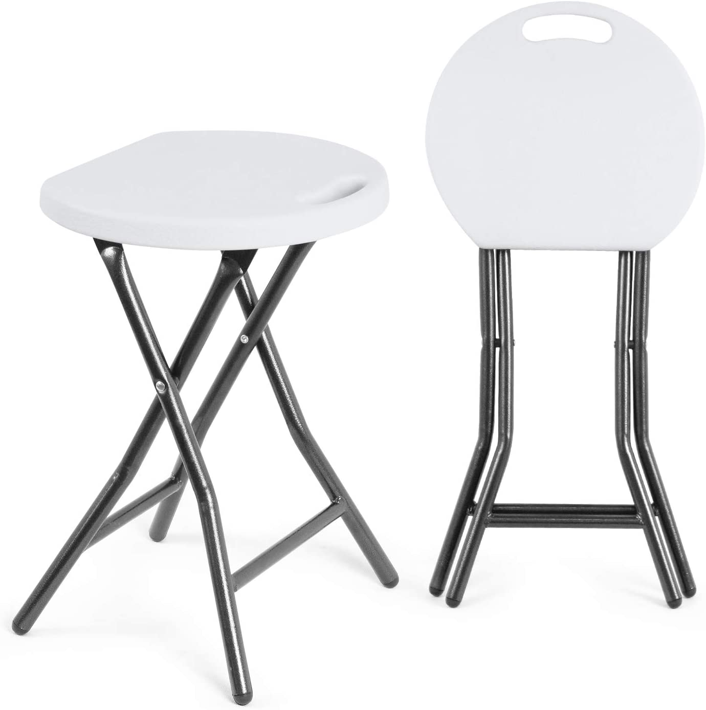 TAVR Portable Folding Stool 18.1 inch Set of 2 Heavy Duty Fold up Stool Foldable Stool for Adults Metal and Plastic Collapsible Round Stool for Kitchen Garden Bathroom,300lbs Capacity,White,CH1003