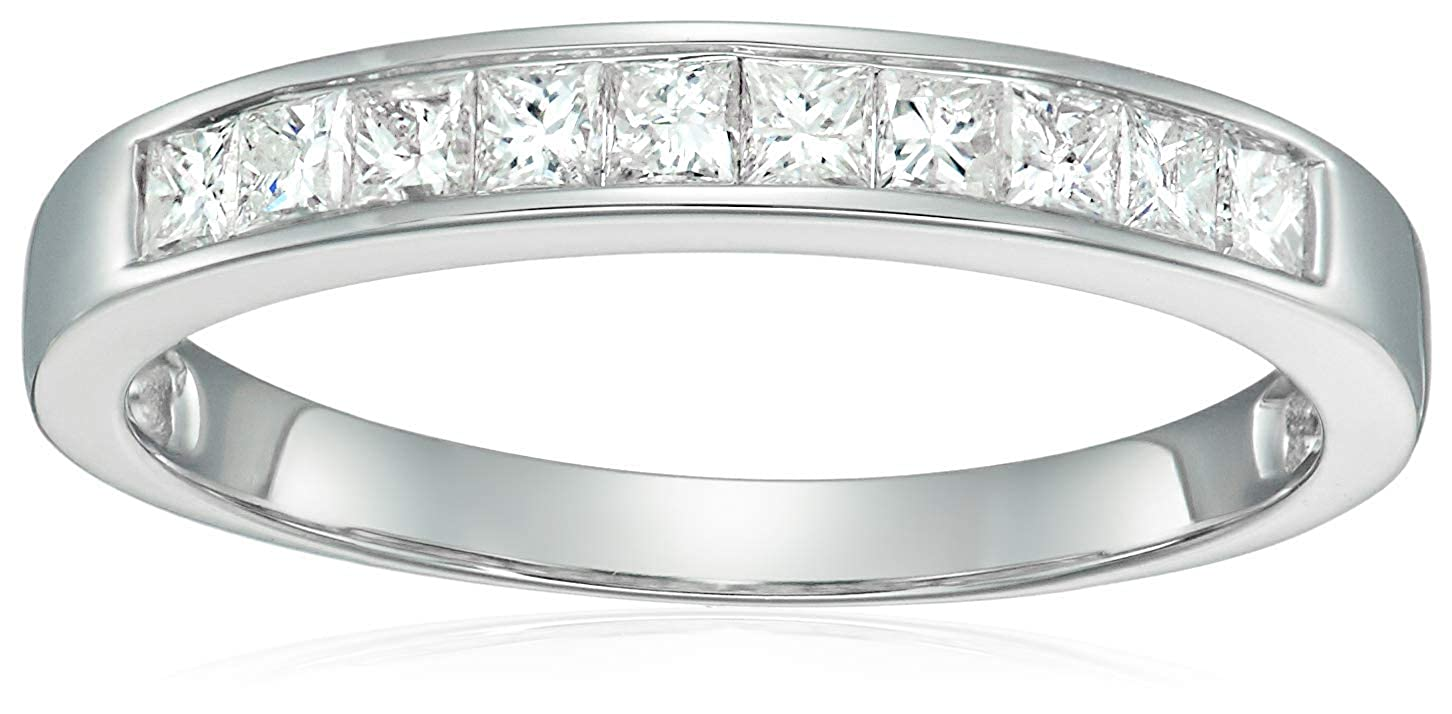 d53b3d778e686 1/2 CT Princess Cut Wedding Band in 14K White Gold
