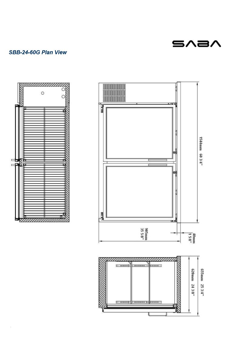 UBB-24-60G 60'' Narrow Glass Door Back Bar Cooler Stainless Steel Top and LED Lighting