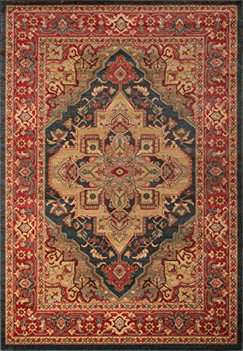 - Momeni Rugs GHAZNGZ-05NVY2030 Ghazni Collection, Traditional Area Rug, 2' x 3', Navy Blue