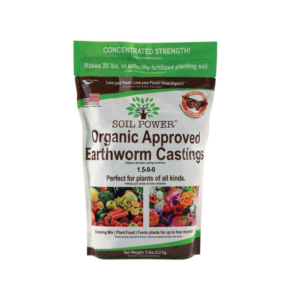 SOIL POWER Earthworm Castings Concentrated Strength (5 Lbs. makes 20 Lbs.)