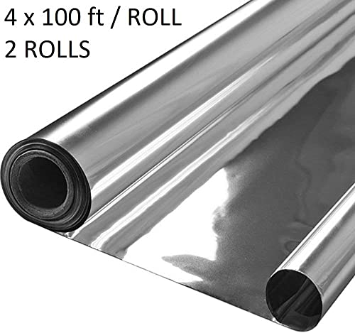 Lepilion Highly Reflective Silver Mylar Film Roll 4 FT x 100 FT 2 Mil 2 Pack Total 800 Square Feet