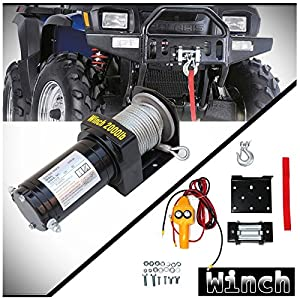 WIN-2X 1pc Brand New Universal DC 12V/24V 2000lb / 907kg Capacity Electric Waterproof Recovery Winch Kit With Mounting Plate/Bracket & Wired Remote Control Switch For ATV & Multiple Applications