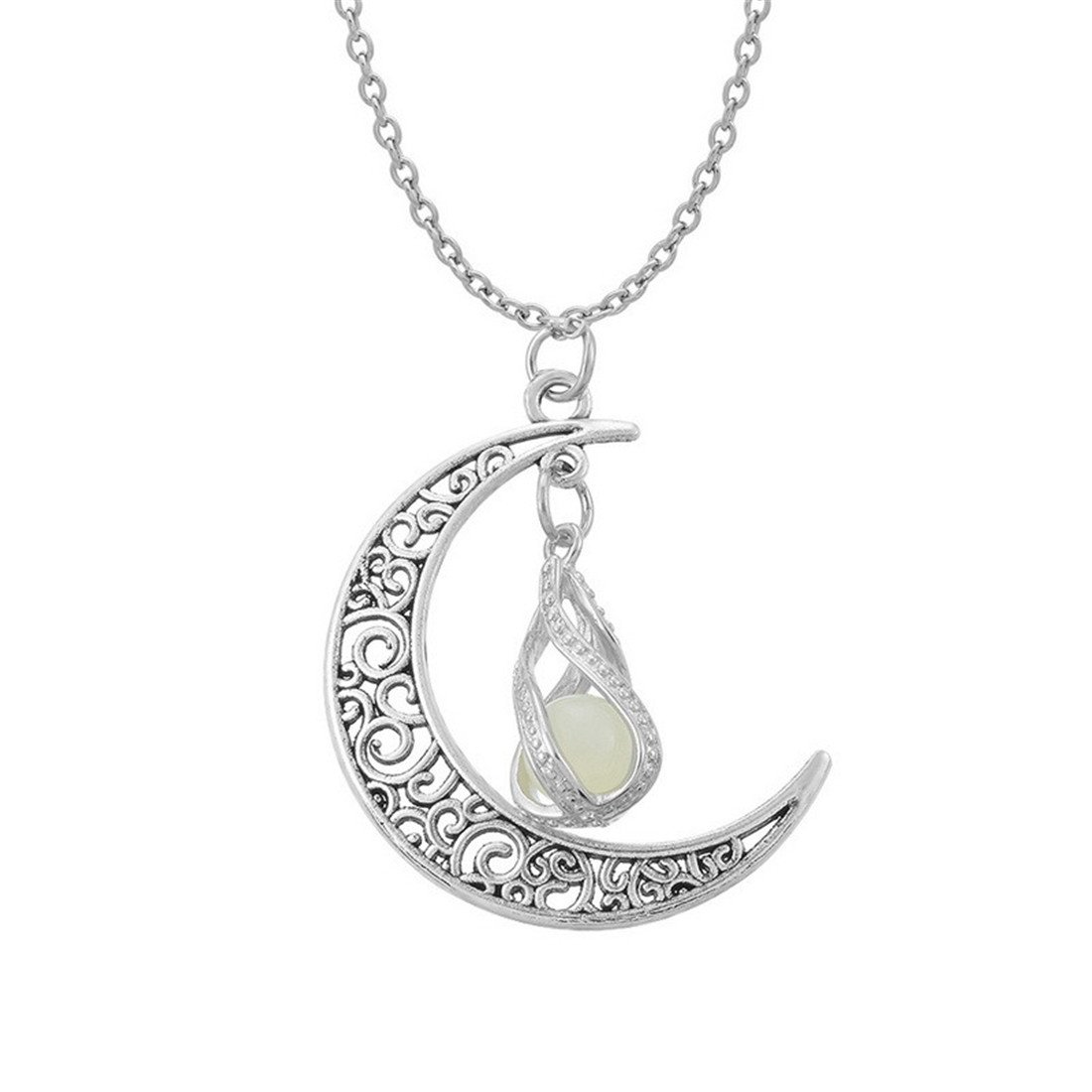 Loweryeah Small Bohemian Wind Necklace Moon Shaped Round Wire Short Neck Chain Clavicle Chain (Moon 5)