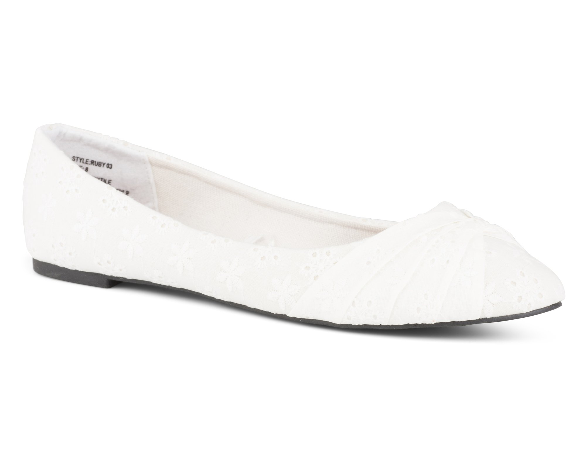 Twisted Women's Ruby Floral Canvas Knotted Toe Ballet Flat - White, Size 7